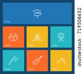 set of 7 picnic outline icons... | Shutterstock .eps vector #719508652