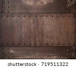 old rusty metal background with ... | Shutterstock . vector #719511322