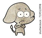 cartoon unsure elephant | Shutterstock .eps vector #719513998