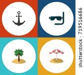 flat icon summer set of scuba... | Shutterstock .eps vector #719516686