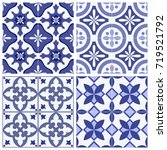 set of 4 seamless patterns with ... | Shutterstock .eps vector #719521792