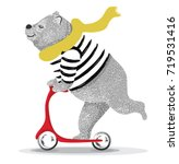 Cute bear scooter vector design.animal illustration.T shirt graphic. | Shutterstock vector #719531416