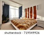 bedroom with a beautiful... | Shutterstock . vector #719549926