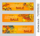 autumn sale flyer three with... | Shutterstock .eps vector #719555152