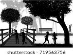 silhouettes of children playing. | Shutterstock .eps vector #719563756