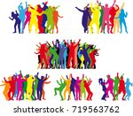 dancing people silhouettes.... | Shutterstock .eps vector #719563762