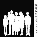 vector  white silhouette people ... | Shutterstock .eps vector #719564452