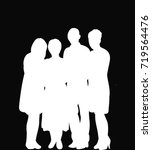 white silhouette of people group | Shutterstock .eps vector #719564476