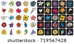 illustration icons bud flowers... | Shutterstock .eps vector #719567428