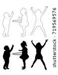 silhouette of children | Shutterstock .eps vector #719569576