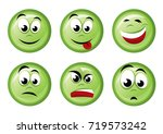 round green icons with emotions.... | Shutterstock .eps vector #719573242