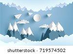paper planes cross mountains... | Shutterstock .eps vector #719574502