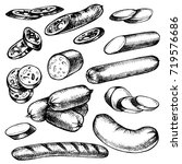 hand drawn sausages kind  set... | Shutterstock .eps vector #719576686