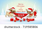 christmas and new year card... | Shutterstock .eps vector #719585806