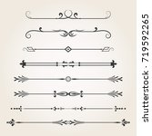 dividers  calligraphic elements ... | Shutterstock .eps vector #719592265