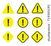 caution icon set. warning... | Shutterstock .eps vector #719593192
