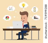 businessman doing online... | Shutterstock .eps vector #719599288