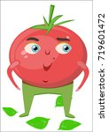 cartoon tomato character. a red ... | Shutterstock .eps vector #719601472