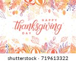 thanksgiving typography.hand... | Shutterstock .eps vector #719613322