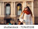 smiling girl in sunglasses... | Shutterstock . vector #719635108