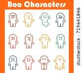 boo characters. monster big set.... | Shutterstock .eps vector #719641846