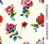 seamless floral background... | Shutterstock .eps vector #719649412
