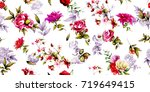 wide seamless floral background ... | Shutterstock .eps vector #719649415