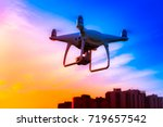 the manned dron is flying over... | Shutterstock . vector #719657542