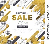 autumn sale banner. square... | Shutterstock .eps vector #719658145