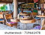 outdoor cafe on the beach in... | Shutterstock . vector #719661478