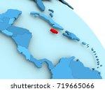 jamaica highlighted on blue 3d...   Shutterstock . vector #719665066