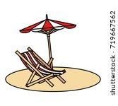 beach umbrella with chair | Shutterstock .eps vector #719667562