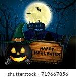 halloween spooky background | Shutterstock .eps vector #719667856