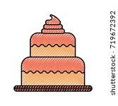 birthday cake dessert... | Shutterstock .eps vector #719672392