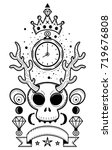 skull with antler and watch   Shutterstock .eps vector #719676808