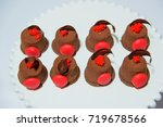 sweet colored cakes in a plate... | Shutterstock . vector #719678566