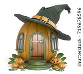 halloween pumpkin house with... | Shutterstock . vector #719678596