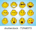 collection of cute faces in... | Shutterstock .eps vector #71968573