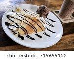 banana chocolate crape cake...   Shutterstock . vector #719699152