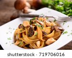 tagiatelle pasta with creamy... | Shutterstock . vector #719706016