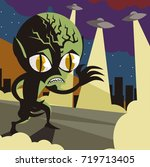 evil vintage alien space... | Shutterstock .eps vector #719713405