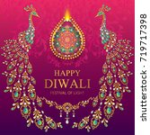 happy diwali festival card with ... | Shutterstock .eps vector #719717398