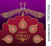 happy diwali festival card with ... | Shutterstock .eps vector #719717416