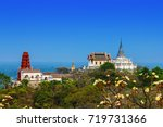 beautiful palace on hilltop and ... | Shutterstock . vector #719731366