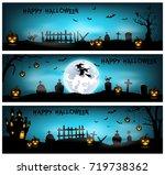 halloween background with... | Shutterstock . vector #719738362