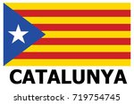 catalonia flag patch. vector. | Shutterstock .eps vector #719754745