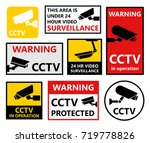 security camera sticker  video... | Shutterstock .eps vector #719778826