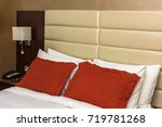 hotel room with a prepared... | Shutterstock . vector #719781268