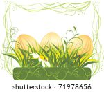 easter eggs with grass and... | Shutterstock .eps vector #71978656