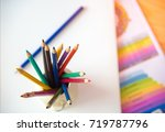 close up of office tools.... | Shutterstock . vector #719787796